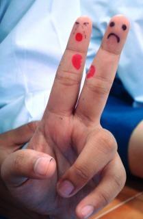 Finger art gebrochenen herzen