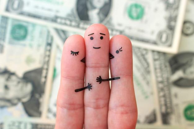 Finger kunst. konzept der mädchen küsst jungen auf wange auf hintergrund des geldes.