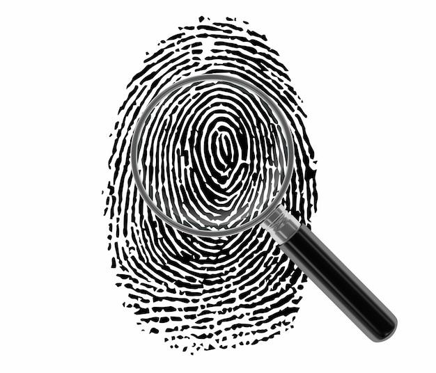 Fingerabdruck mit lupe