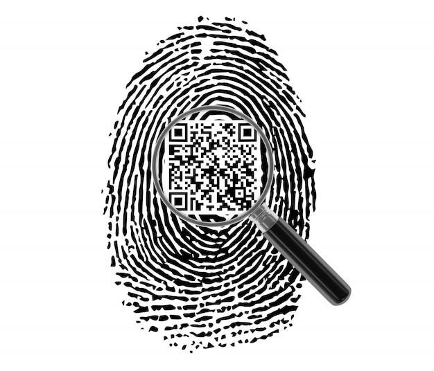 Fingerabdruck mit qr-code