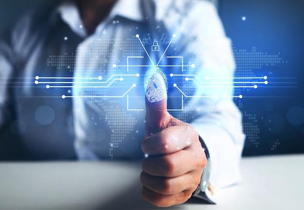 Fingerabdruck-scan bietet zugriff auf sicherheit und identifizierung
