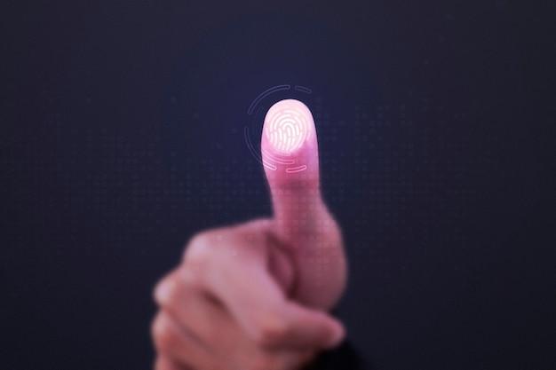Fingerabdruckscanner auf transparentem bildschirm