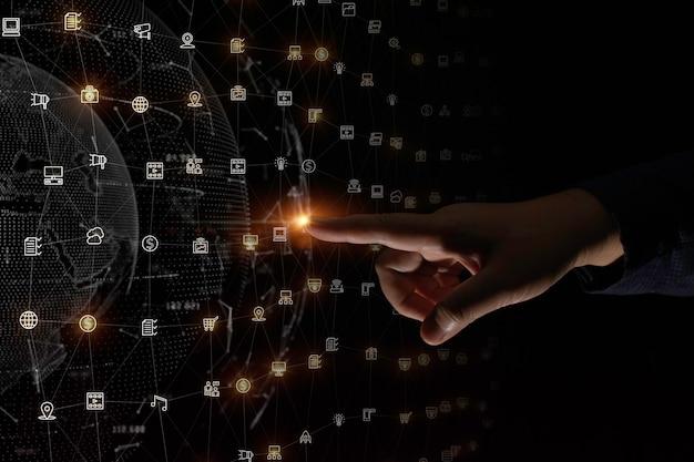 Fingerberührung über einem hintergrund einer digitalen datennetzwerkverbindung