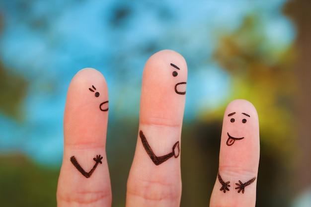 Fingerkunst der familie während des streites