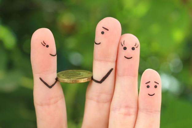 Fingerkunst der glücklichen familie. dem menschen wird geld gegeben.