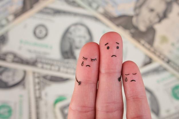 Fingerkunst der missfallenen familie auf geld