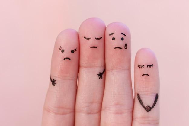 Fingerkunst unzufriedener menschen.