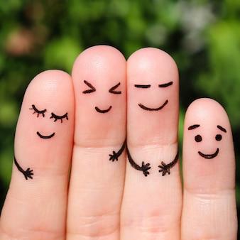 Fingerkunst von freunden. das konzept einer gruppe von menschen, die lachen.