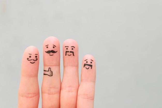 Fingerkunst von glücklichen männern mit schnurrbart.