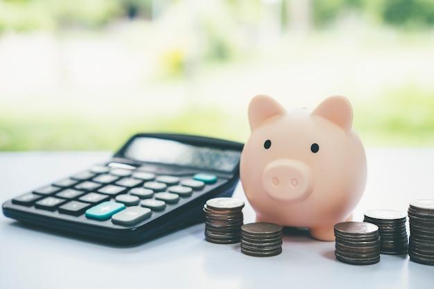 Finnace, geld sparen und anlagekonzepte. sparschwein und münze.