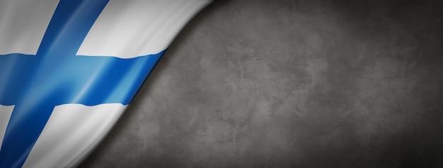 Finnische flagge auf betonwand
