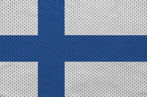 Finnland-flagge auf einem sportswear-netzgewebe aus polyester-nylon