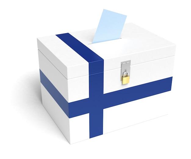 Finnland-wahlurne mit finnischer flagge. isoliert auf weißem hintergrund.