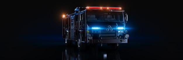 Fire truck studio-setup auf einem dunklen hintergrund 3d-rendering
