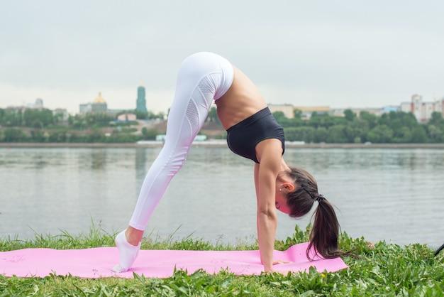 Fit frau praktiziert yoga asana adhomukha svanasana - nach unten gerichtete hundehaltung.