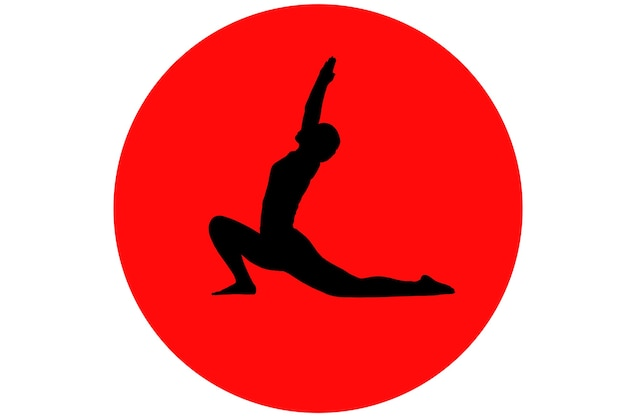 Fitness-frau, die übung macht und yoga-pose-frau, um das spagat-silhouette-porträt zu machen