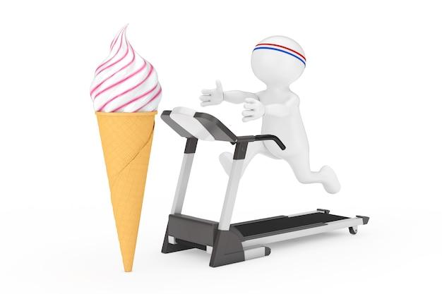 Fitness-konzept. person runner läuft entlang des laufbandes und greift nach dem softeis in waffel-knuspereis-kegel auf weißem hintergrund. 3d-rendering