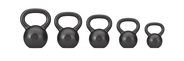 Fitness-konzept. satz von black iron dumbbell gewichte auf weißem hintergrund. 3d-rendering