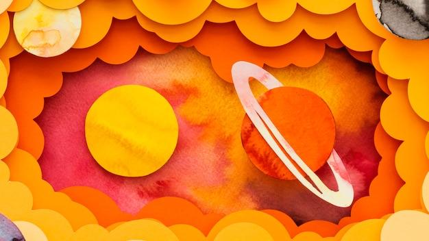 Flach gelegt kreative papierplaneten anordnung