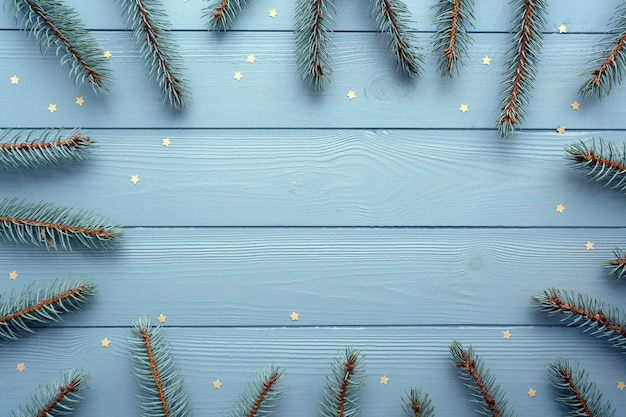 Flach lag mit hölzernem hintergrund, silberfichte und goldenen sternen. weihnachten und neujahr hintergrund