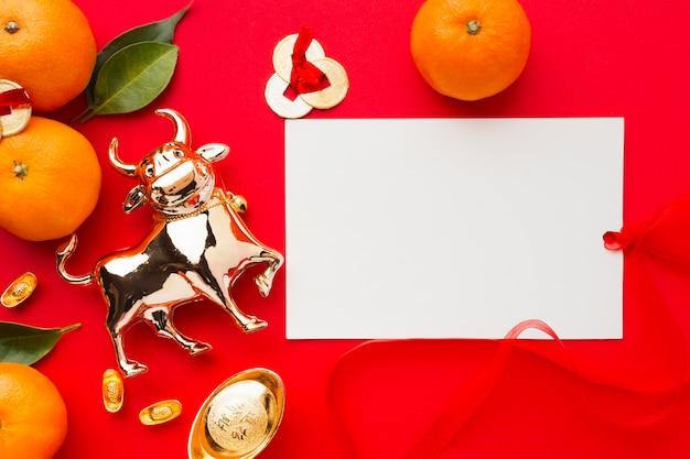 Flach lag neujahr chinesischer 2021 goldener ochse