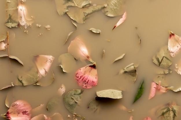 Flach legen rosa blütenblätter und blätter in braunem wasser