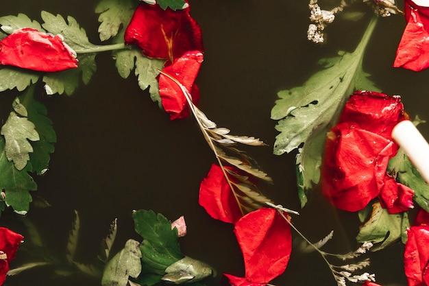 Flach legen rote blütenblätter in wasser
