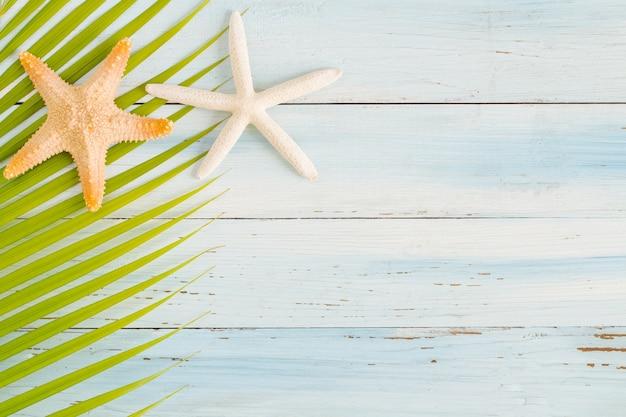 Flach legen sie fotokokosnussblatt- und -sternfische auf hölzernem hintergrund-, draufsicht- und kopienraum