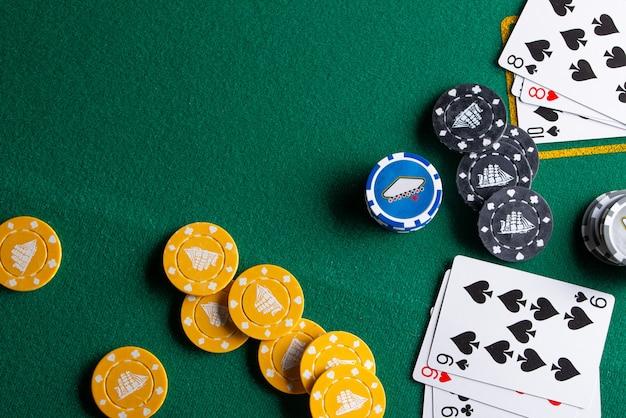 Flach liegende casino-elemente