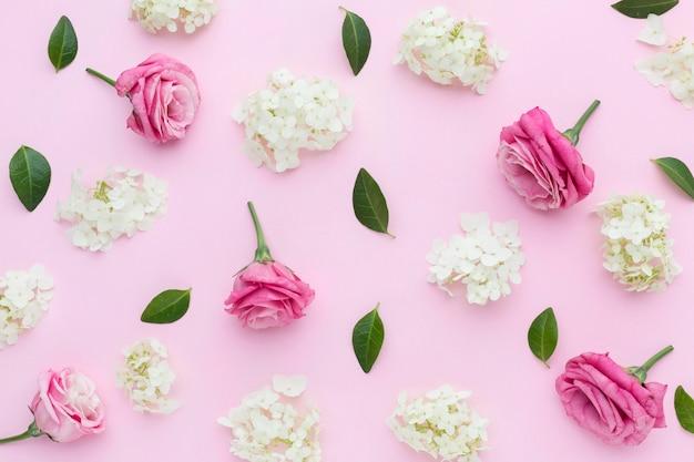 Flach liegende flieder und rosen