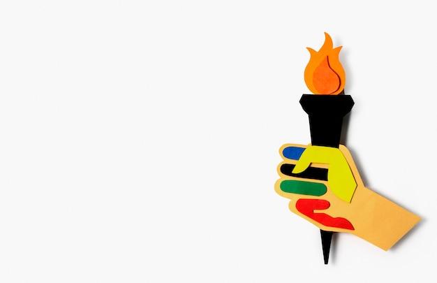 Flache anordnung der olympischen formen des papierstils