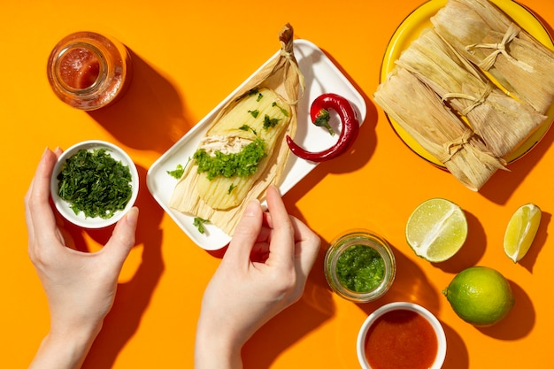 Flache anordnung der tamales-zutaten