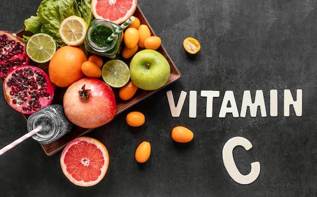 Flache anordnung gesunder lebensmittel zur stärkung der immunität