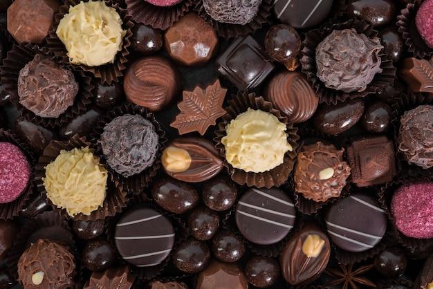 Flache auswahl an süßigkeiten