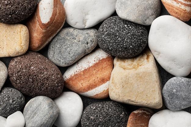 Flache gelegte steinsammlung nah