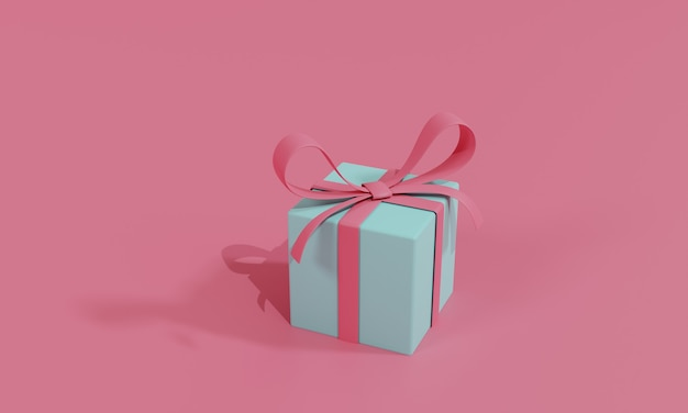 Flache illustration des 3d-renderings online-shopping-shop auf geschenk. premium illustration