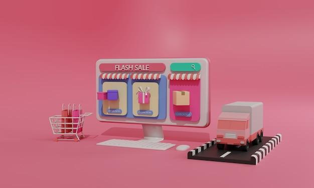Flache illustration des 3d-renderings online-shopping-shop für mobile anwendungen und lkw-frachtversand von computern. premium illustration