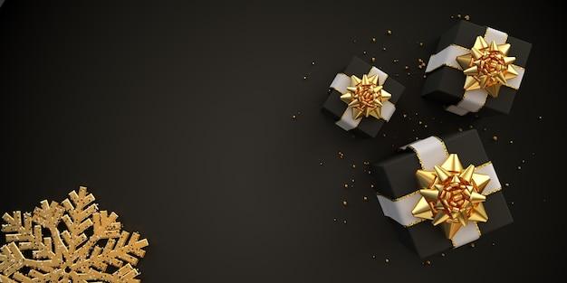 Flache karte der weihnachtskomposition mit schwarzen geschenkboxen und goldener schneeflocke auf schwarzem d-render