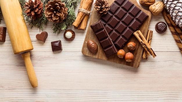 Flache lag festliche weihnachtsmahlzeitsortiment