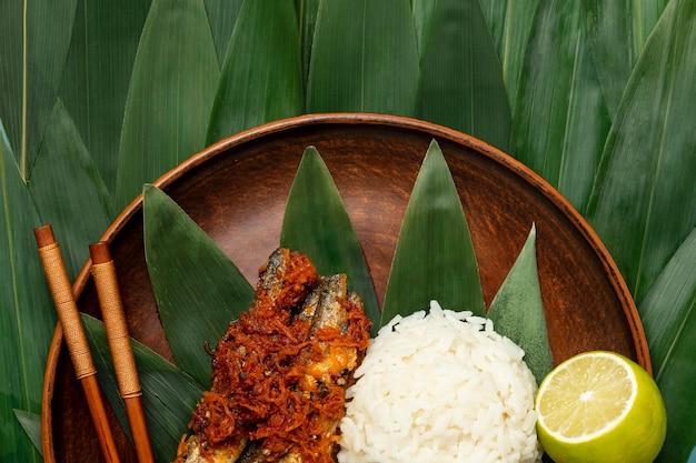 Flache lag köstliche indonesische bakso-zusammensetzung