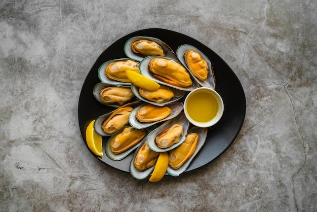 Flache lag köstliche meeresfrüchtezusammensetzung