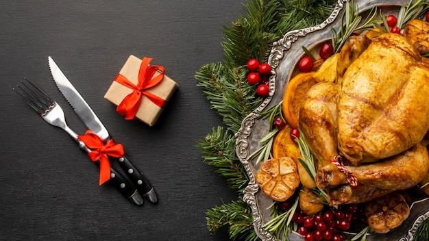 Flache lag köstliche weihnachtsgericht zusammensetzung