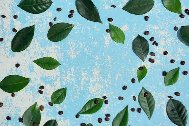 Flache lage der braunen kaffeebohnen, grünes blatt auf blauem holz als hintergrund mit schatten
