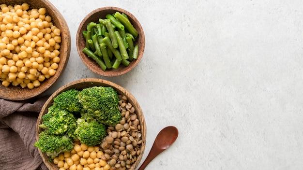 Flache lage der köstlichen gesunden nahrung mit kopierraum