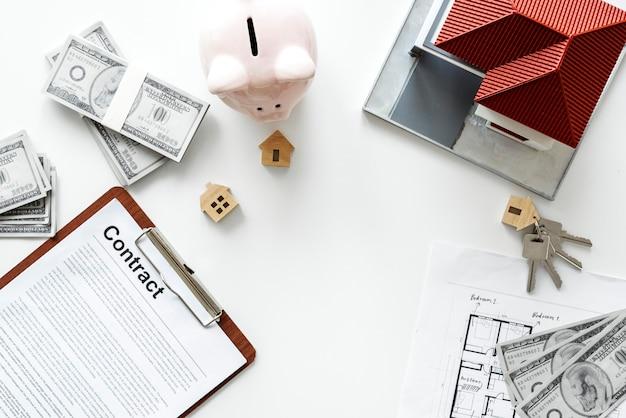 Flache lage des immobilienkonzepts