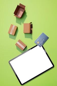 Flache lage des online-shoppings mit kopierraum