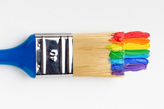 Flache lage des pinsels mit regenbogenfarben