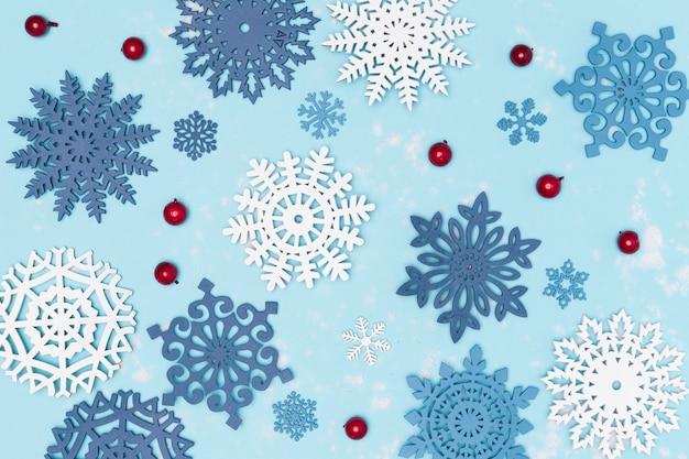 Flache lage des schönen winterkonzepts