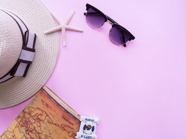 Flache lage des sommerferienhintergrundes.