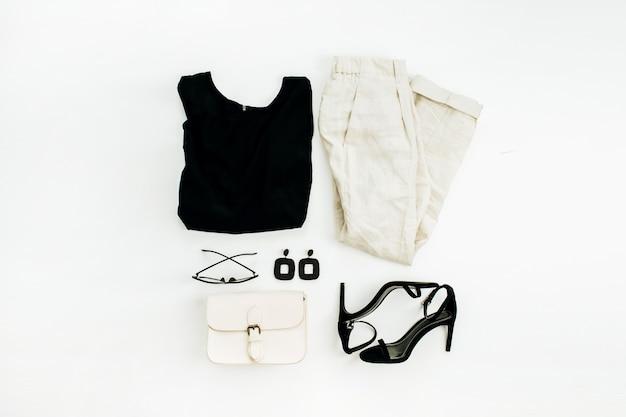 Flache lage, draufsicht modecollage mit frauenkleidern und accessoires